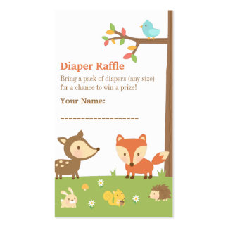 Woodland Creatures Baby Shower Diaper Raffle Business Card