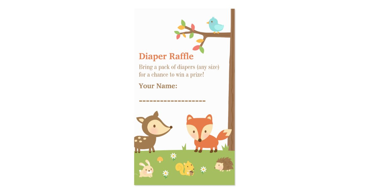 woodland creatures baby shower diaper raffle business card zazzle