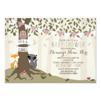 Woodland Creatures Baby Shower - Girl Card