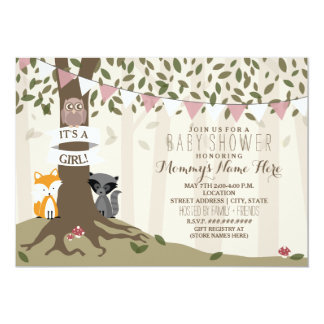 Woodland Creatures Baby Shower   Girl Card