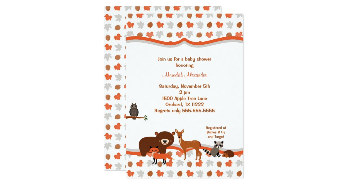 woodland creatures baby shower invitation zazzle