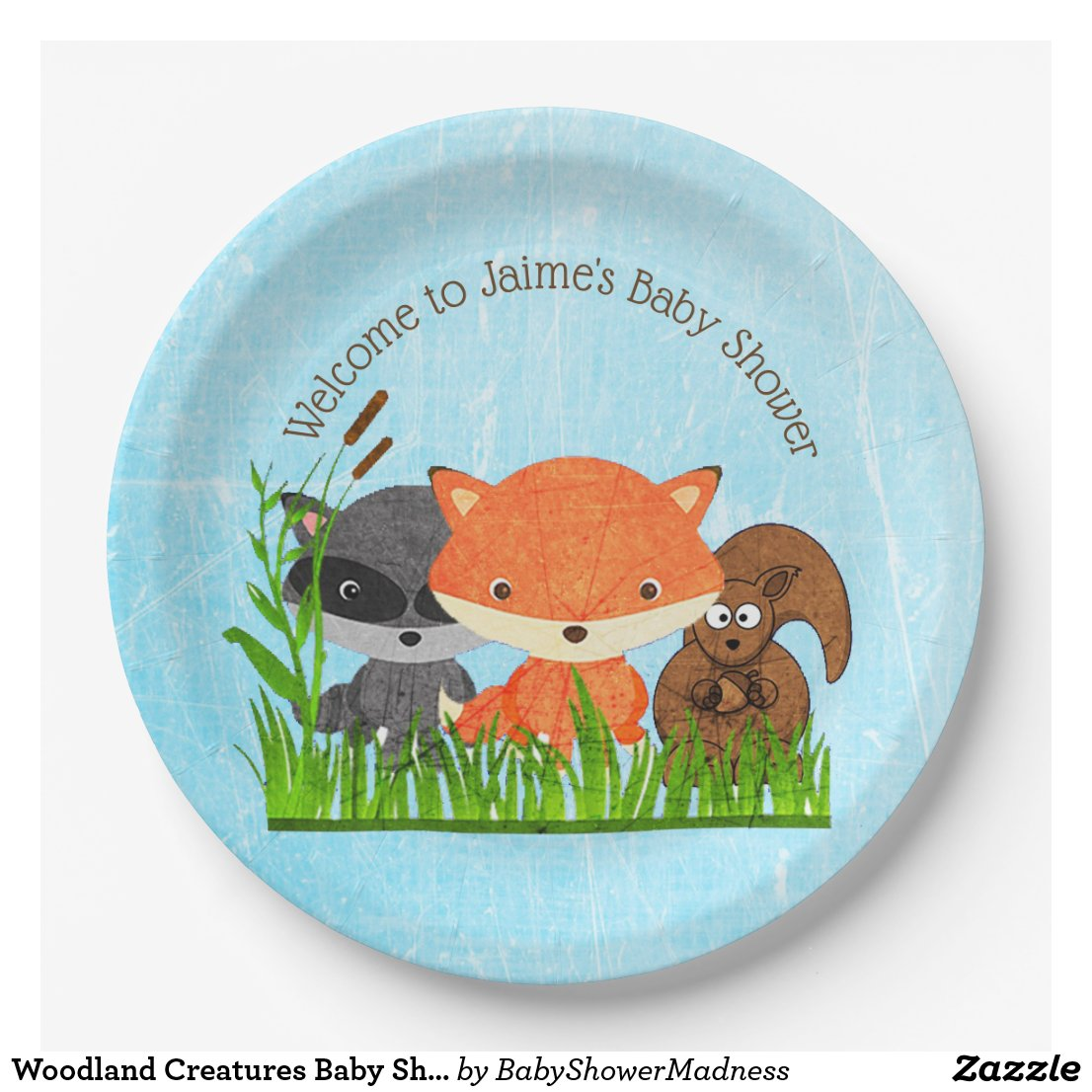 Woodland Creatures Baby Shower Paper Plates