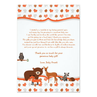 Woodland Creatures Baby Shower thank you note poem Card