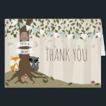 """Woodland Creatures Boy Baby Shower Thank You Card<br><div class=""""desc"""">A woodland baby shower thank you card featuring an illustration of a tree in the forest decorated with blue bunting,  &quot;it&#39;s a boy&quot; banner,  and surrounded by owl,  raccoon,  and fox.  Matching baby shower invitations at coordinating items are available at Jill&#39;s Paperie.</div>"""