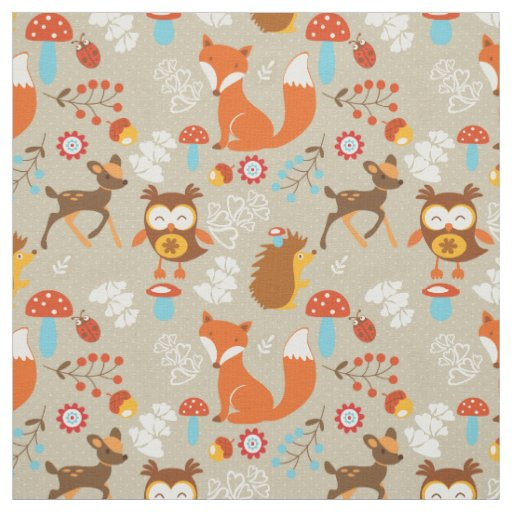 Woodland Creatures Fabric Zazzle Com