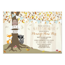 Woodland Creatures Fall Autumn Baby Shower - Boy Card