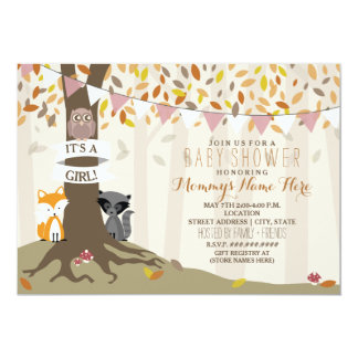 Woodland Creatures Fall Autumn Baby Shower - Girl Card