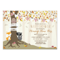 Woodland Creatures Fall Autumn Baby Shower - Girl Invitation