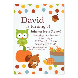 "Woodland Creatures Fall Birthday Party Invitation 5"" X 7"" Invitation Card"