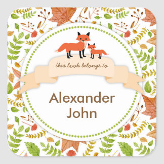 Woodland Creatures Fox Book plates / fall leaves Square Sticker