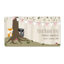 Woodland Creatures Girl Baby Shower Label