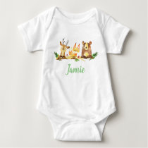 Woodland Creatures Personalized Watercolor Animals Baby Bodysuit