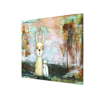 Woodland Creatures Rabbit Owl Whimsical Animal Art Gallery Wrapped Canvas