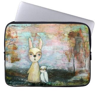 Woodland Creatures Rabbit Owl Whimsical Animal Art Laptop Computer Sleeve