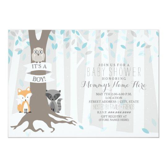 woodland creatures winter baby shower - boy card   zazzle, Baby shower invitations