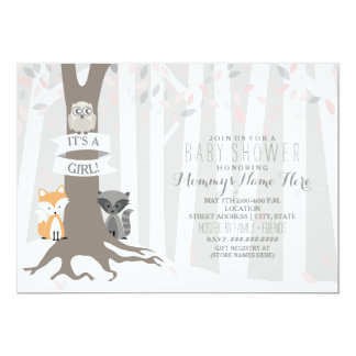 Woodland Creatures Winter Baby Shower - Girl Card