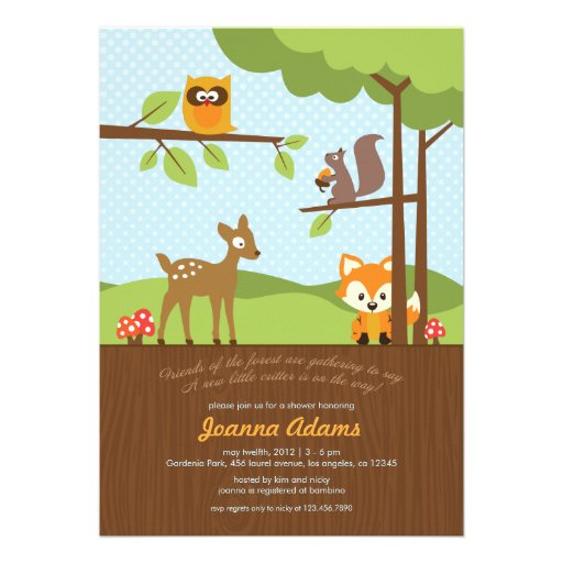 woodland critters baby shower invitation 5 x 7 invitation card