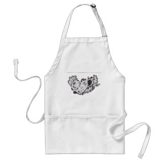 Woodland critters Pen and Ink Heart Adult Apron