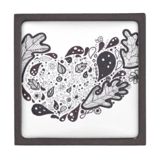 Woodland critters Pen and Ink Heart Jewelry Box