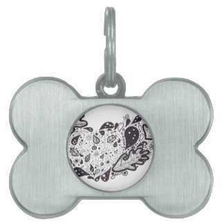 Woodland critters Pen and Ink Heart Pet Name Tag