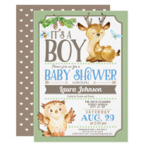Woodland Deer and Owl Boy Baby Shower Invitation