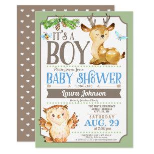 Owl baby shower invitations zazzle woodland deer and owl boy baby shower invitation filmwisefo