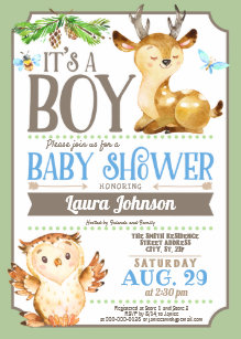 Owl baby shower invitations announcements zazzle woodland deer and owl boy baby shower invitation filmwisefo