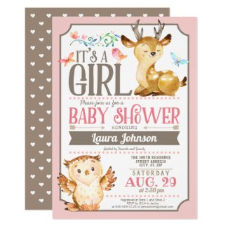 Pink and Brown Baby Shower Invitations Woodland Deer and Owl Girl