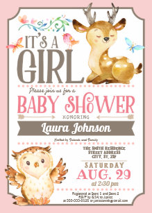 Owl baby shower invitations announcements zazzle woodland deer and owl girl baby shower invitation filmwisefo