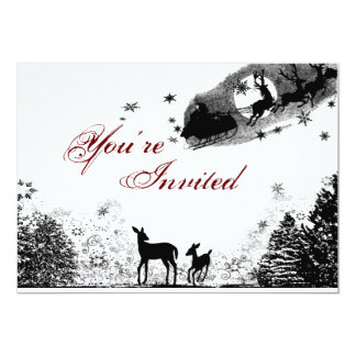Woodland Deer and Santa Christmas Baby Shower 5x7 Paper Invitation Card