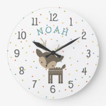 Woodland deer baby nursery clock with name