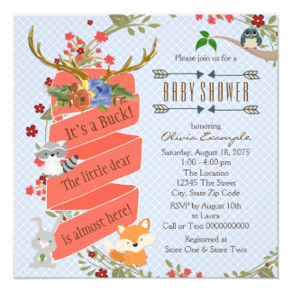 Woodland Deer Baby Shower 5.25x5.25 Square Paper Invitation Card
