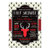 Woodland Deer Baby Shower Invitation, Faux Foil Card