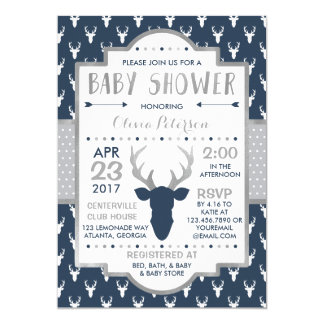 Woodland Deer Baby Shower Invitation, Faux Foil Invitation