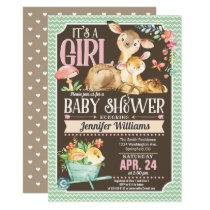 Woodland Deer Baby Shower Invitation Girl