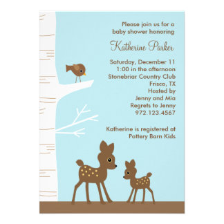 Woodland Deer Baby Shower Invitations Invites