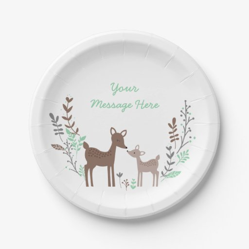 Woodland Deer Baby Shower Paper Plate