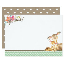 Woodland Deer Baby Shower Thank You Card