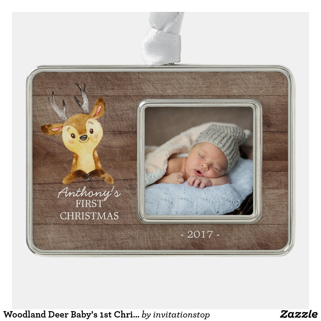 Woodland Deer Baby's 1st Christmas Photo Ornament