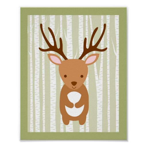 Woodland Deer Birch Tree Nursery Wall Print