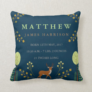 Woodland Deer Birth Announcement Pillow at Zazzle