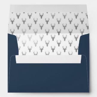Woodland Deer Envelope, Antlers, Navy Blue, Silver Envelope