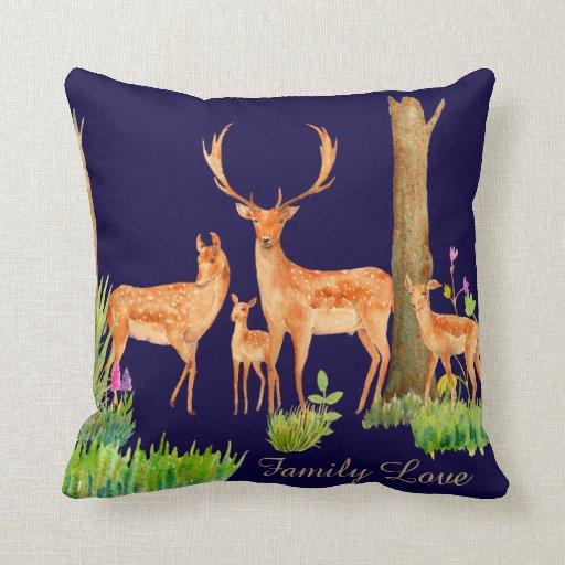 woodland deer fawn family cushion pillow customize Zazzle