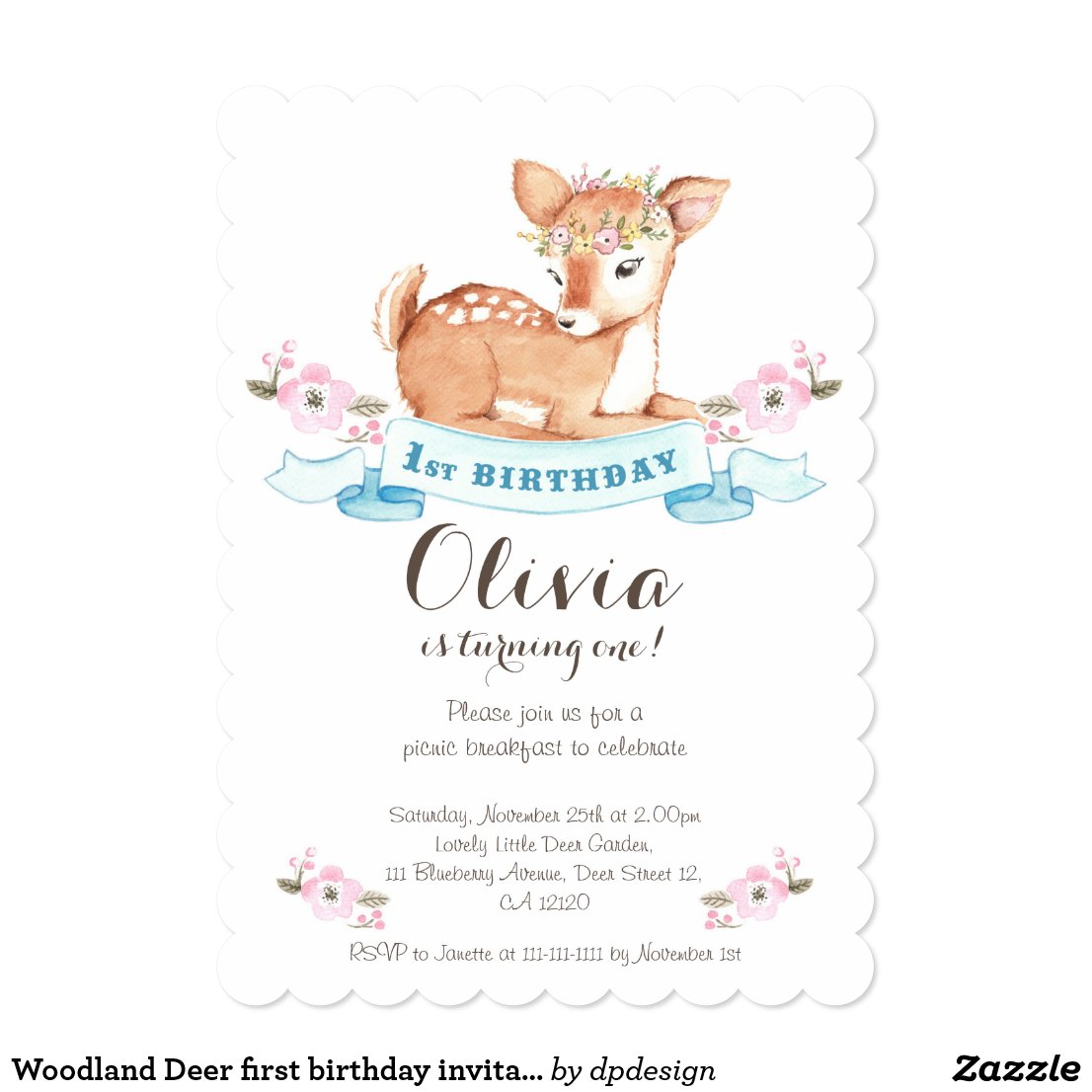 Woodland Deer first birthday invitation