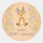 Woodland Deer Flowers Forest Baby Shower Classic Round Sticker