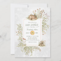 Woodland Deer   Forest Baby Shower Invitation