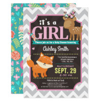 Woodland Deer & Fox Baby Shower Invitation Girl