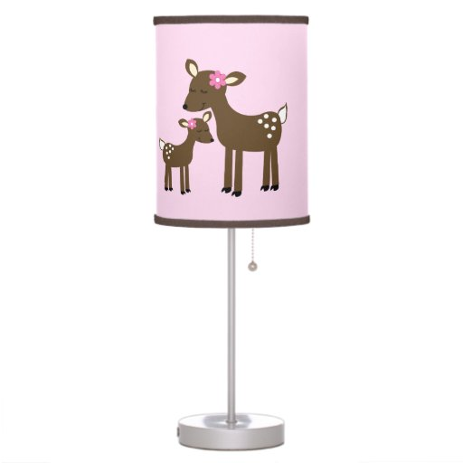 Woodland Deer (Girl) Pink Nursery Lamp
