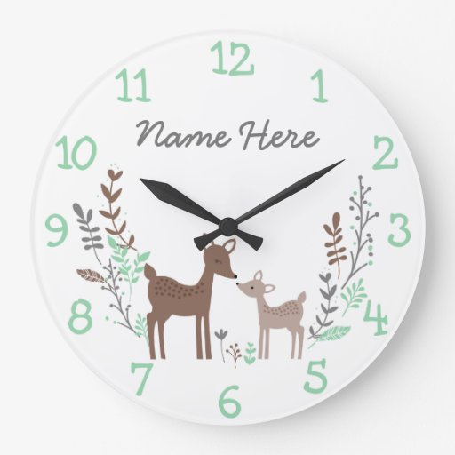 Woodland Deer Large Clock