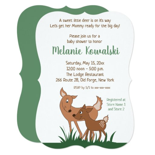 Woodland Deer Mom and Baby Invitation